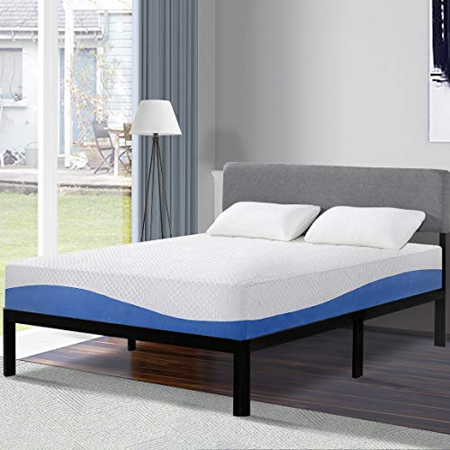 White and Blue Olee Sleep Memory Foam Mattress on a bed with 2 pillows and headlamp