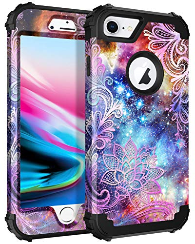 Casetego Compatible iPhone 8 Case,iPhone 7 Case,Floral Three Layer Heavy Duty Hybrid Sturdy Armor Shockproof Protective Cover Case for Apple iPhone 8/7,Purple Mandala ()