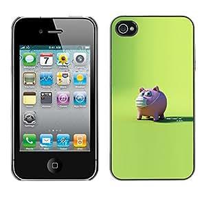 EJOY---Cubierta de la caja de protección la piel dura para el / iPhone 4 / 4S / --Conejillo asustado
