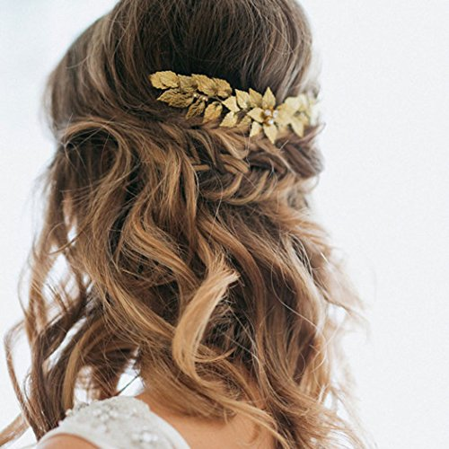 Leaf Comb - Barogirl Wedding Hair Comb Leaf Hairpiece Gold Hair Comb Vintage Bridal Rhinestones Hair Comb Clips for Women and Girls (Gold)