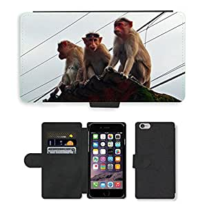 Hot Style Cell Phone Card Slot PU Leather Wallet Case // M00110349 Monkeys Animal Western Ghats // Apple iPhone 6 4.7""