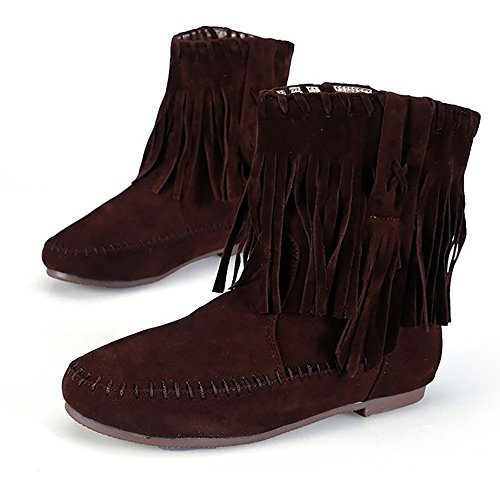 Fringed Boots Meeshine Suede Tassel Womens Moccasin Meeshine Brown Womens 0w6gqPxt4q