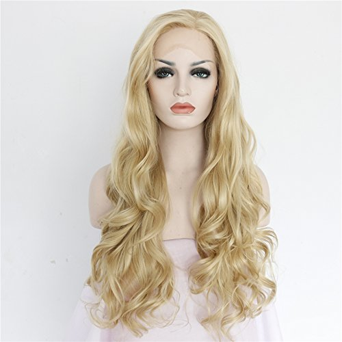 Ebingoo Long Loose Curly Charming Blonde Lace Front Wig Glueless Golden Hair Heat Resistant Synthetic Fiber Wigs (20 inches) ()