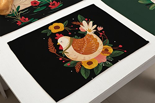 Hacaso 6 Pieces Cotton Linen Placemats Oil Painting Animal Pattern Dining Table Mats(5)