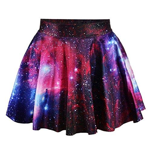 Polytree Women's High Waist Pleated Flared Mini Skirt (Galaxy Star 1) (Skirt Mini Star Big)