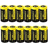 12 Pack Garberiel CR123A 3V Li-ion 1300mAh Battery Camera Flashlight