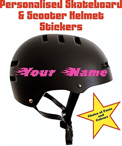 2x personalised name stickers for skateboard scooter blades cycle bike bicycle helmet kids children by ellis graphix amazon co uk car motorbike