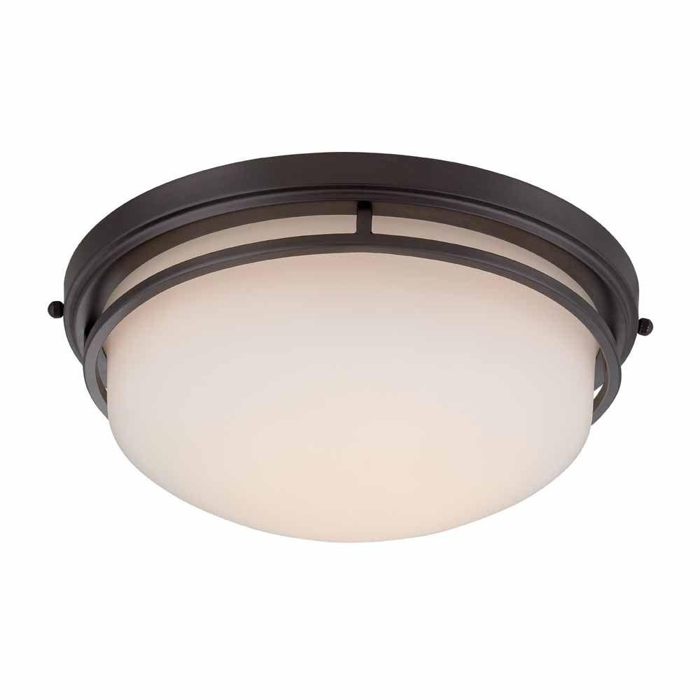 World Imports 9710-88 13.25 in. Oil Rubbed Bronze LED Flushmount with Frosted Glass by World Imports