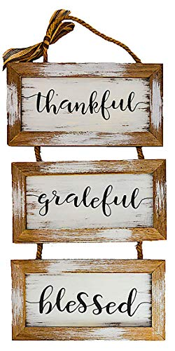 """S.T.C. Home Family Sign for Wall Front Door Indoor Outdoor Country Rustic Primitive Decor Art 20"""" x 9"""" (Thankful Grateful Blessed)"""
