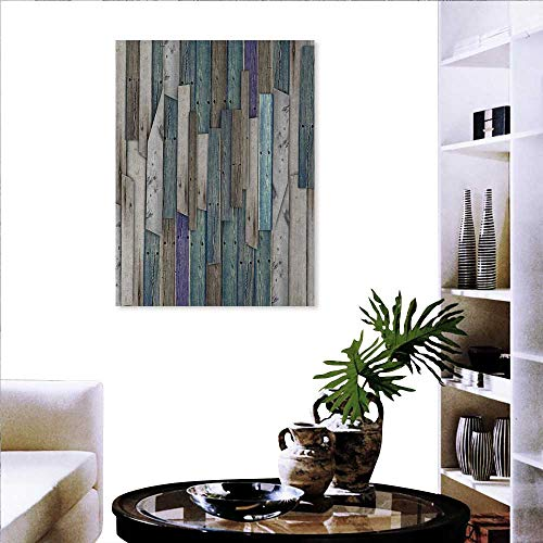Anniutwo Wooden Canvas Print Wall Art Blue Grey Grunge Rustic Planks Barn House Wood and Nails Lodge Hardwood Graphic Print Wall Sticker 16