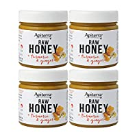 Apiterra - Raw Honey with Turmeric and Ginger - 8 Ounce, 4 Count (total 32 ounce)