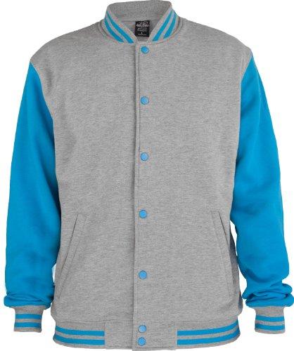 "Urban : ""2-tone College Sweatjacket"" Size: XXL, Color: grey-turquoise …TB207"