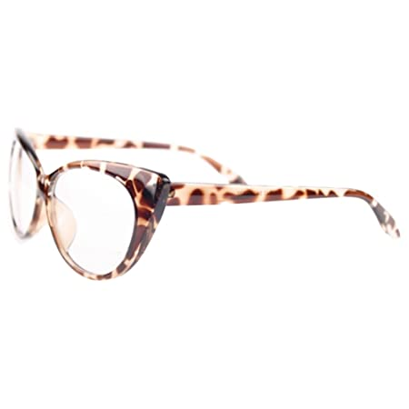 6991172ca2 Dexinghaoye Women Classic Sexy Vintage Cat-Eye Shape Plastic Plain Eye  Glasses Frame Eyewear (Leopard)  Amazon.co.uk  Kitchen   Home
