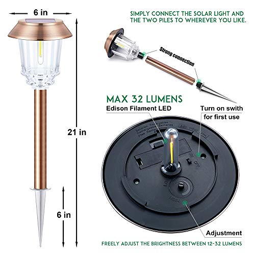 UPSTONE Solar Pathway Garden Lights Outdoor Super-Bright 12-32 Lumens,Solar Landscape Lights for Lawn Patio Yard Pathway Walkway All-Weather//Water-Resistant 4 Pack
