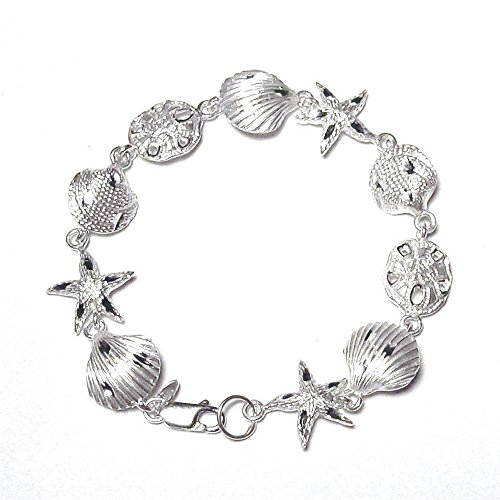 - indomode Large Sterling Silver 2D Diamond-Cut Textured Design Sand Dollar Starfish Link Charm Bracelet 7 or 8inch (8 Inches)