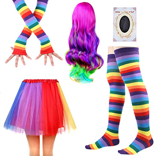 Women's Rainbow Long Gloves Socks and 3 Layered Tulle Tutu Skirt Party Accessory Set (Color-F) -