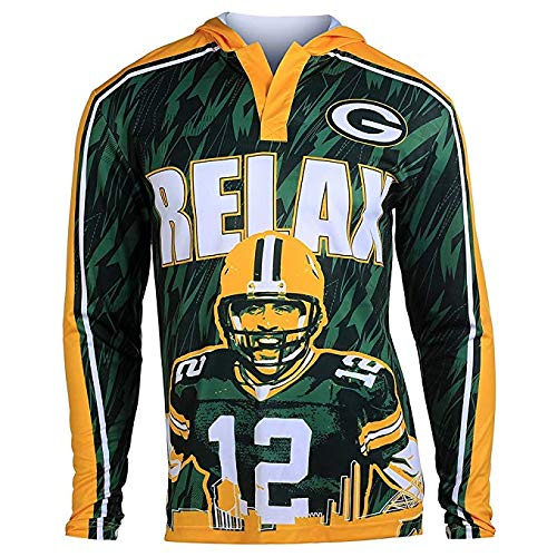 NFL Football 2015 Polyester Player Hoody Tee - Pick Team (Green Bay Packers A Rodgers #12, Large) (Player Tee Football)