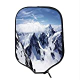 YOLIYANA Winter Decor Durable Racket Cover,Snowy Mountain Peaks Tops High Lands Northern Scenic Alps Panorama Valley for Sandbeach,One Size