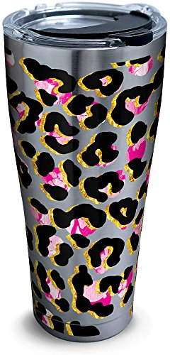 Tervis 1284373 Funky Animal Print Stainless Steel Tumbler with Clear and Black Hammer Lid 30oz, Silver by Tervis