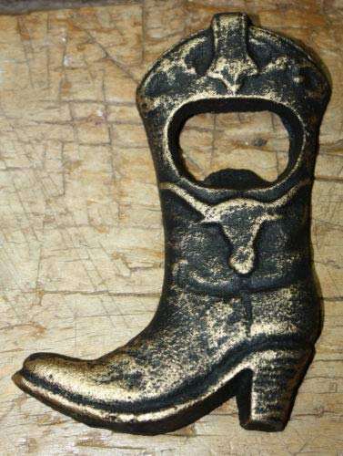 JumpingLight Cast Iron Antique Style Cowboy Boot Beer Bottle Opener Western Man Cave Longhorn Cast Iron Decor for Vintage Industrial Home Accessory Decorative Gift Cast Iron Iron Boot
