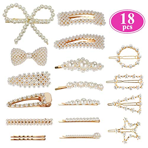 (Pearl Hair Barrettes for Women Girls, Funtopia 18pcs Fashion Sweet Artificial Pearl Hair Clips Geometric Barrette Decorative Bobby Pins Bow Alligator Clips for Party Wedding Daily, Applies to Bun Updo)
