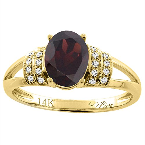 14K Yellow Gold Natural Garnet Ring Oval 8x6 mm Diamond Accents, size - Ring Garnet 14k Natural Gold