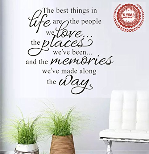 Wall Stickers 'The Best Things in Life Are the People' Vinyl Wall Decal Words Quote Wall Art Sticker Home Decor for Bedroom Living Room 22.8 X 14.7 in (Black)