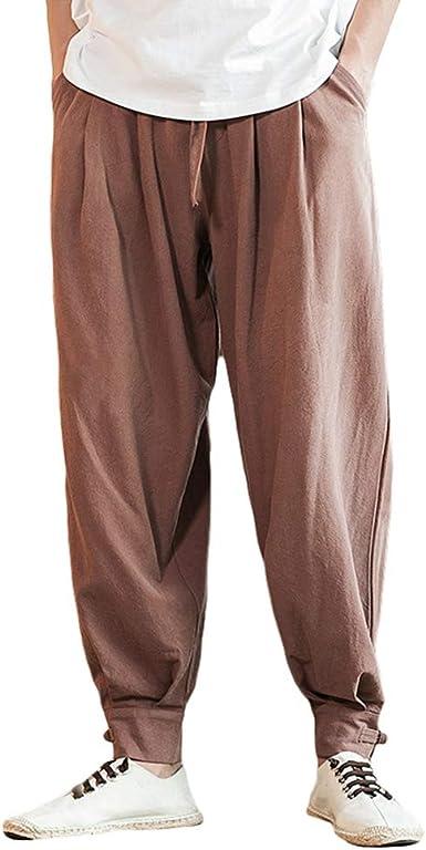 Laozan Pantalones Haren Para Hombre Pantalones Sueltos Ocasionales Pantalones Jogger Elastico Fitness Amazon Es Ropa Y Accesorios