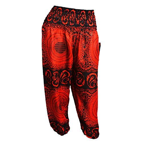 Boho Elástica Mr Harem Red bangkok Black Cintura Pantaloni Floral Mujer RxqtpxY