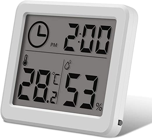 Clock LCD Digital Display Hygrometer Thermometer Out//Indoor Humidity Gauge Meter