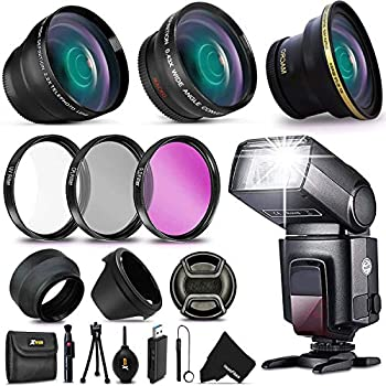 Image of 58mm 3 Lens Kit + Flash for Canon EOS 80D 77D 70D EOS Rebel T7i T6i T6S T5i T4i T3i T2i T1i XTi XT SL1 XSi, EOS M, EOS M2, EOS 760D 700D 650D 600D 550D 70D 60D 6D 5D 7D, 7D Mark II DSLR Cameras Accessory Kits
