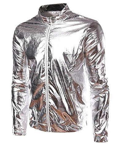 Men's Gold Silver Metallic Coating Nightclub Zip Up Jacket (Mens Metallic Silver Jacket)