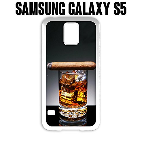 Phone Case Cuban Cigar and Whiskey for Samsung Galaxy S5 Rubber White (Ships from CA) (S5 Galaxy Case Whiskey Samsung)