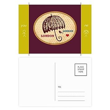 DIYthinker Londres Reino Unido del paraguas británico sello postal del amigo Set Gracias tarjeta de correo