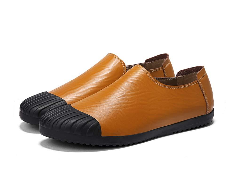 Fuxitoggo  Herren Soft Sole beiläufige Driving Schuhe Rutschfeste beiläufige Sole Breathable Comfort Slip auf Loafers (Farbe : Schwarz, Größe : EU 39) Gelb fa0e71