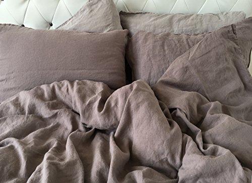 Jowollina Leinen Bettwäsche Set Bettbezug 200x200 Cm2 Kissenbezüge
