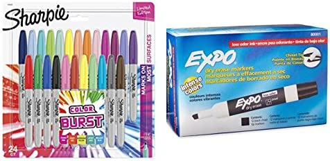 Pack de Sharpie – Juego de 24 ráfaga de color punta fina permanente rotuladores + Expo 12 negro biselada de borrado en seco Marcadores – varios colores para niños & adultos –