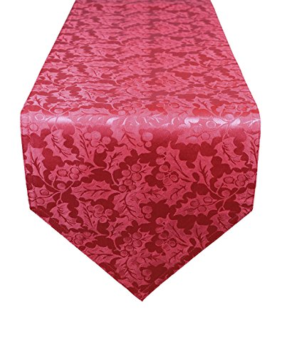 Lovein Table Runner Christmas Decorative Red Leaves Pattern Polyester Jacquard Fabric Tablerunner for Kitchen Dinning(13x95-Inch)