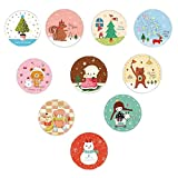 MissYou 20 Pack Assorted Cartoon Round Christmas Greeting Card with Free Envelope and Cute Sealing Sticker