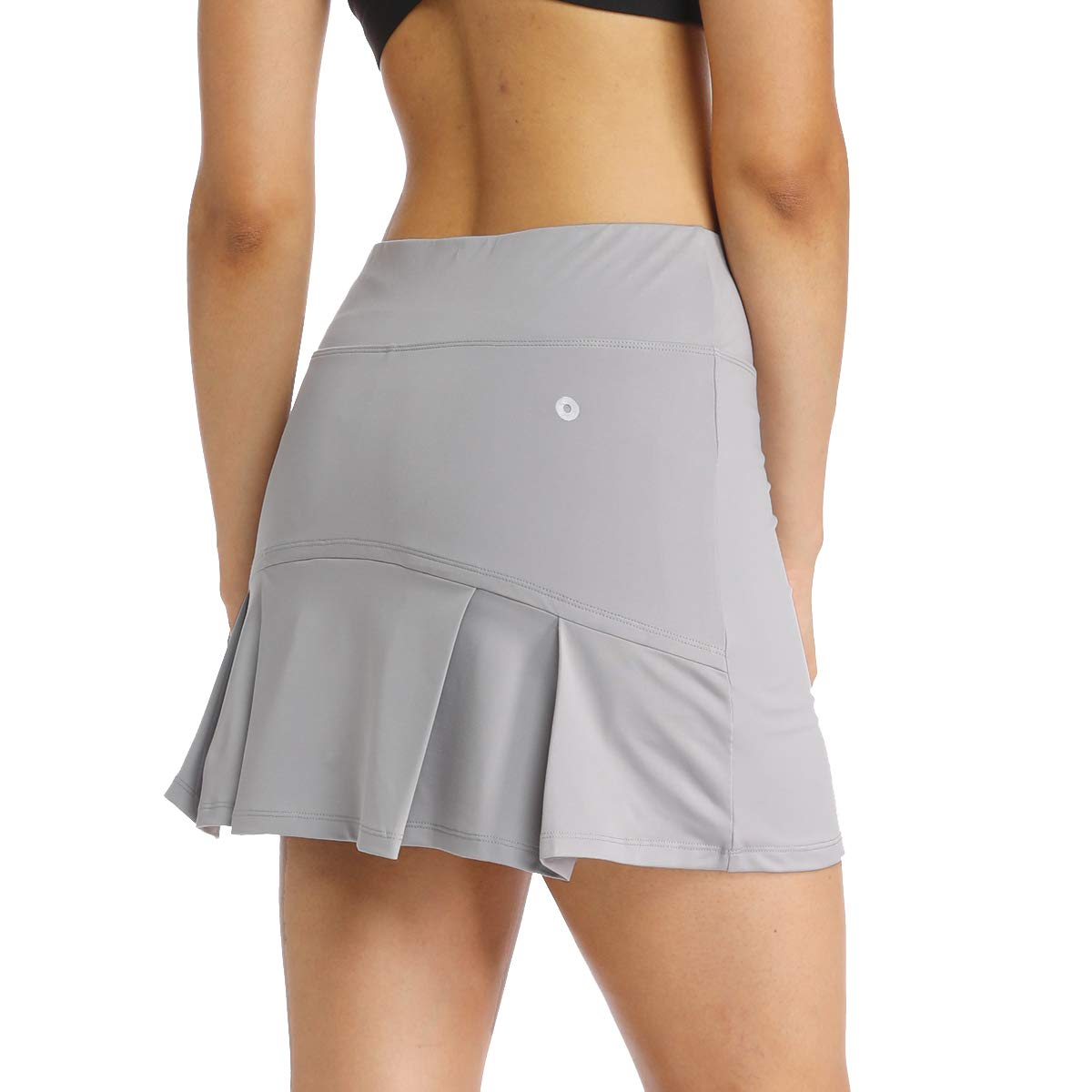 Ibeauti Womens Back Pleated Athletic Tennis Golf Skorts Skirts with 3 Pockets Mesh Shorts for Running Active Workout (Grey, Medium) by Ibeauti