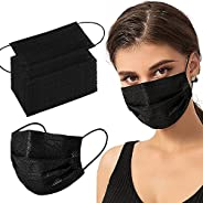 100PCS Black Disposable Face Mask 3 Ply Filter Protection Breathable Face Masks