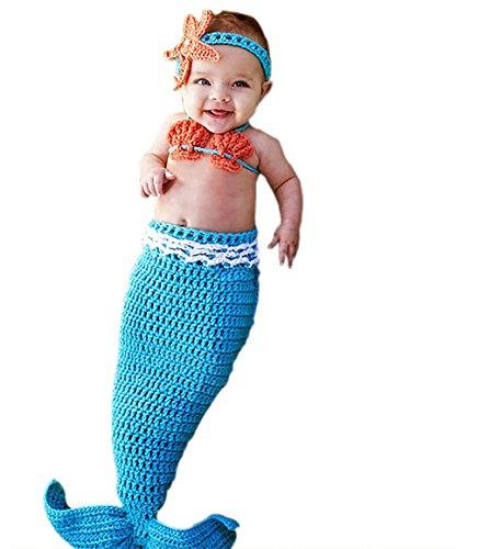 Lanue Newborn Photography Prop Costume Cute Mermaid Handmade Knitted (Cute Mermaid Costume)