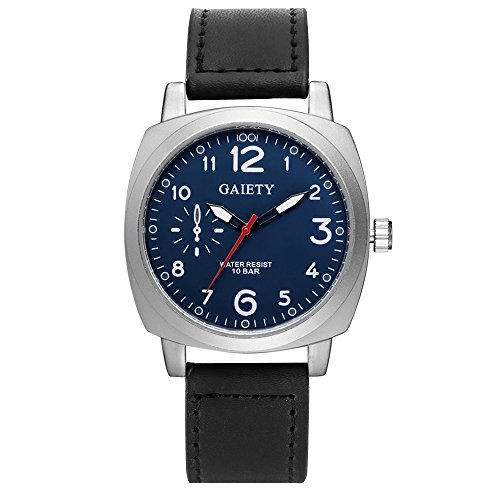 Gaiety Tonneau Men's Dress Watches Leather Strap Analog Quartz Arabic Numbers G454 (Black band+blue dial)