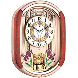 Musical Motion Wall Clock | Melodies and Rhythm Moving Face | Color: Woodgrain and Gold with Crystal | Sound and Movement | LED Lights | Tulips and Butterflies | Music: Classic, Christmas, Theraputic
