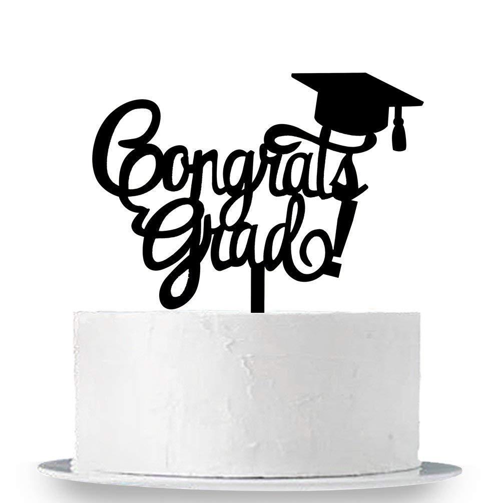 KISKISTONITE Congrats Grad Cake Topper - Class of 2018 Graduate Party Decorations Supplies - High School Graduation, College Graduate Cake Topper (Black) Special Event