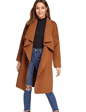 2da202489c02 Amazon.com: Romwe Women's Casual Long Sleeve Lapel Collar Waterfall Trench  Coat Cardigan Outwear: Clothing