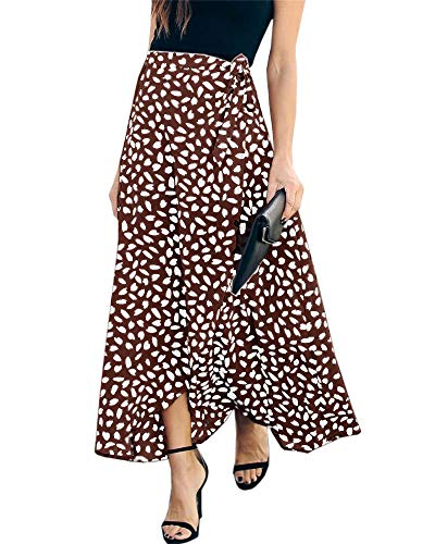 Imysty Womens Leopard Print Long Skirts Drawstring High Waisted Bohemian Maxi Skirt (Large, Y-Brown)