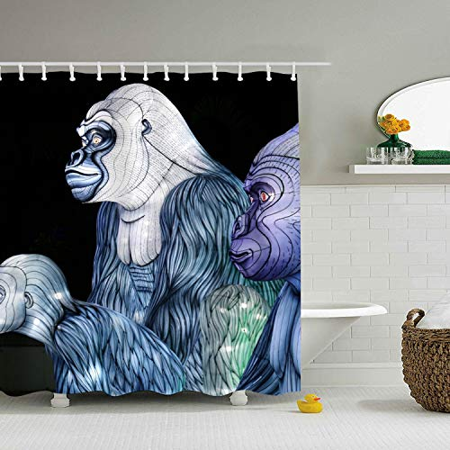 3D Gorilla Shower Curtain Water, Soap, and Mildew Resistant - Machine Washable - Shower Hooks are Included