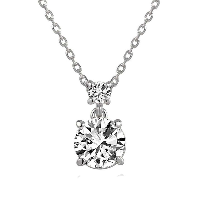 2a86bb603a62 hktc Classic permanente 2 ct Gemini corazones y flechas circonitas cúbicas  collar con colgante de diamantes