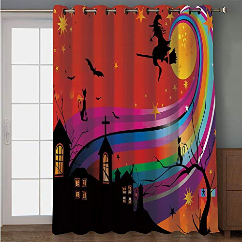 iPrint Blackout Patio Door Curtain,Halloween,Witch Woman on Broomstick Bats Cat Stars Rainbow Moon Castle Abstract Colorful Decorative,Multicolor,for Sliding & Patio Doors, 102